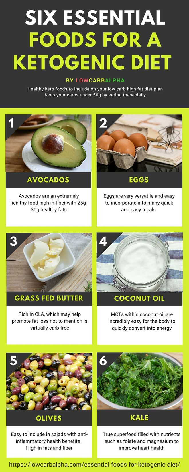 Six essential foods for a Ketogenic Diet by lowcarbalpha