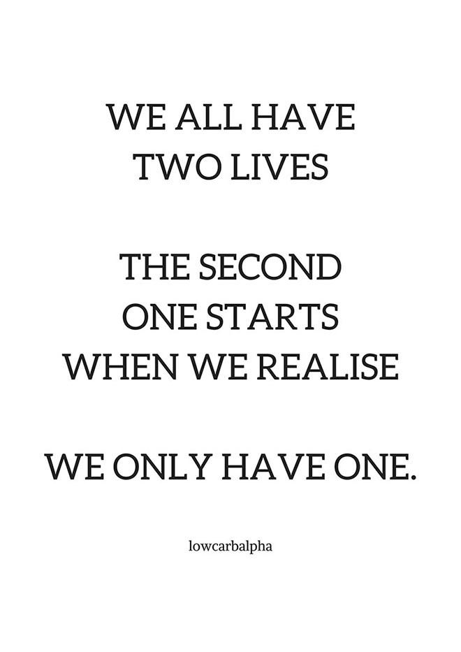 We all have two lives the second one starts when we realise we only have one quote