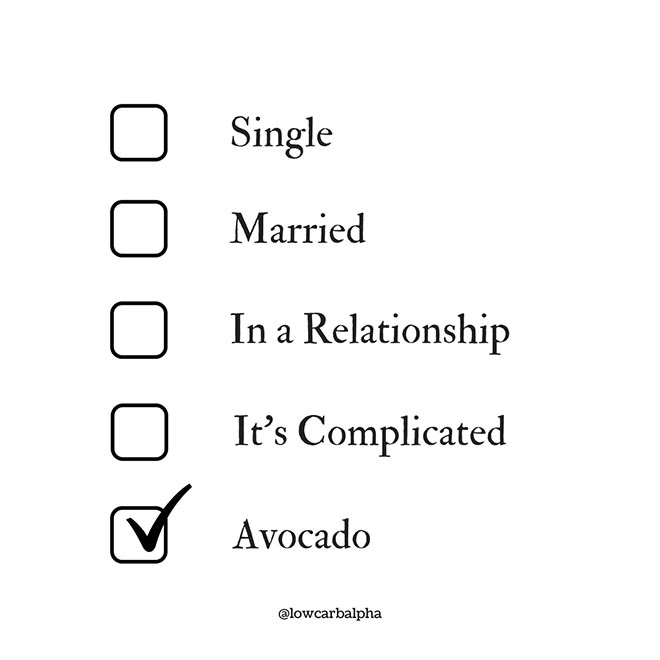 Relationship Status meme single married in a relationship it's complicated avocado