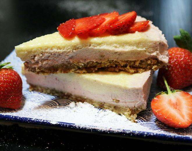 No bake paleo strawberry cheesecake recipe. Dairy free and gluten free