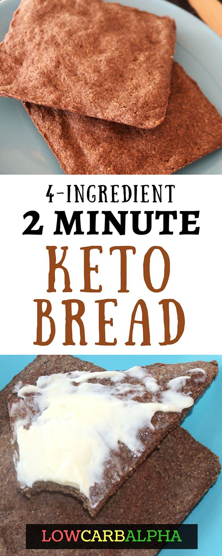 4 ingredient 2 minute microwave keto bread #lowcarb #keto #lchf #lowcarbalpha