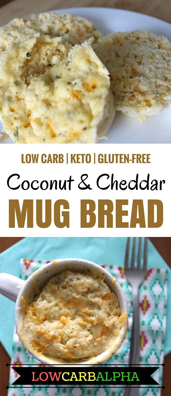 Low Carb Keto Gluten-Free Coconut Flour and Cheddar Cheese Mug Bread Recipe #lowcarb #keto #lchf #lowcarbalpha