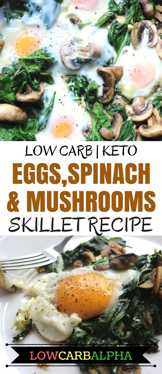 Low carb eggs spinach and mushrooms skillet recipe #lowcarb #keto #lchf #lowcarbalpha