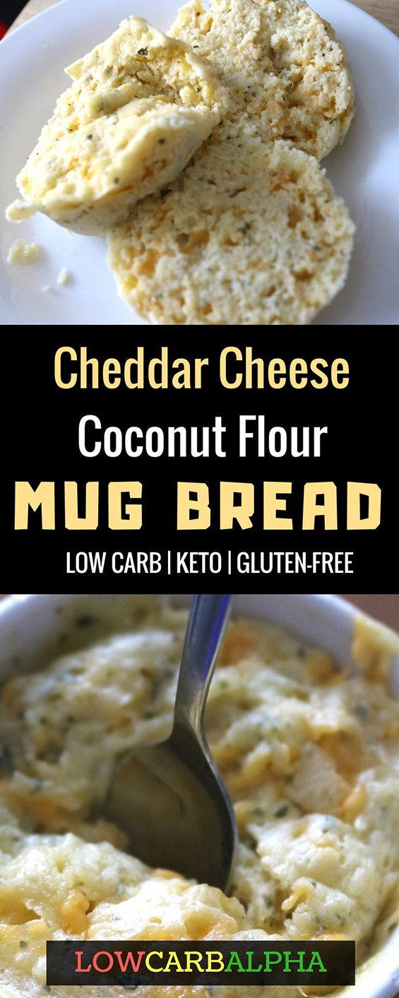 Cheddar Cheese Coconut Flour Mug Bread. Low Carb, Keto, and Gluten-Free Recipe #lowcarb #keto #lchf #lowcarbalpha