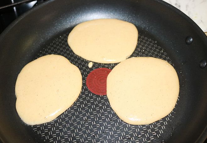cooking the coconut flour pancakes