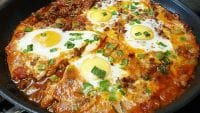 Keto Ground Beef Baked Eggs Breakfast Skillet